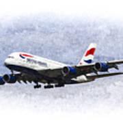 British Airways Airbus A380 Art Poster