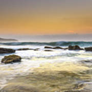 Hazy Dawn Seascape With Rocks Poster