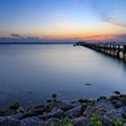 Melbourne Beach Pier Sunset Poster