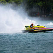Roostertail From Racing Hydroplanes Boats On The Detroit River For Gold Cup Poster