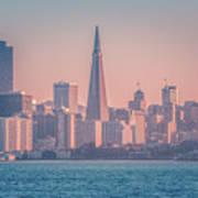 San Francisco California City Skyline At Spring Sunset Poster