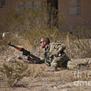U.s. Soldier Conducts A Combat Training Poster