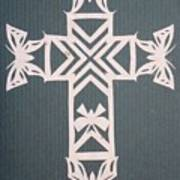 White Butterfly-cross Poster