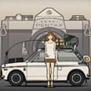 Honda N600 Rally Kei Car With Japanese 60's Asahi Pentax Commercial Girl Poster