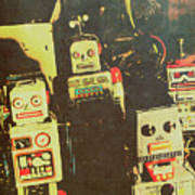 60s Cartoon Character Robots Poster