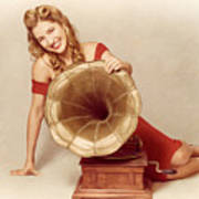 60s Pin Up Girl With Vintage Record Phonograph Poster