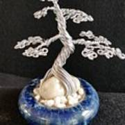#66 Silver Lining Wire Tree Sculpture Poster