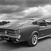 67 Fastback Mustang In Black And White Poster