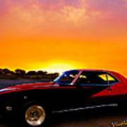 69 Camaro Up At Rocky Ridge For Sunset Poster