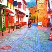 A Digitally Constructed Painting Of Cobbled Back Streets Of Kaleici In Antalya Turkey Poster