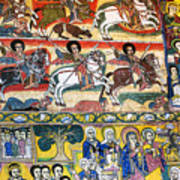 Ancient Orthodox Church Interior Painted Walls In Gondar Ethiopi Poster