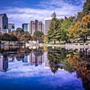 Charlotte City North Carolina Cityscape During Autumn Season Poster