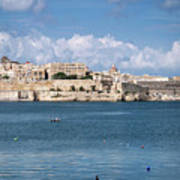 La Valletta Old Town Fortifications Architecture Scenic View In  Poster
