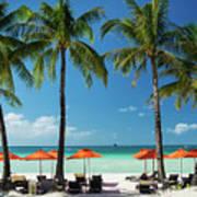 Main Beach Of Tropical Paradise Boracay Island Philippines Poster