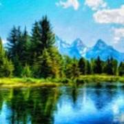 Landscape Drawing Nature Poster