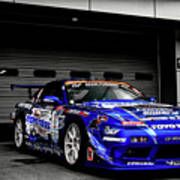 7763 Nissan Tuning Race Cars Blue Cars Selective Coloring Poster