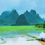 Karst Rural Scenery In Raining Poster