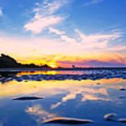 Beach Skyset Sunset On A Perranporth Beach Cornwall Poster