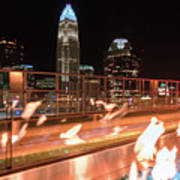 Charlotte North Carolina Skyline View At Night From Roof Top Res Poster
