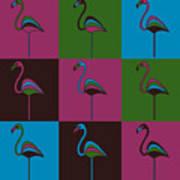9 Flamingos Poster