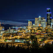 Seattle Skyline At Night Poster