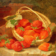 A Basket Of Strawberries On A Stone Ledge Poster