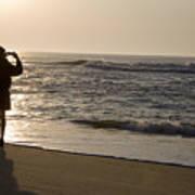 A Beach Walker Photographs Sunrise Poster