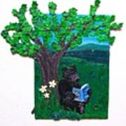 A Bear At His Books Poster