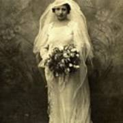 A Beautiful Vintage Photo Of Coloured Colored Lady In Her Wedding Dress Poster