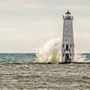 A Big Wave Crashes Into The Frankfort Light Poster