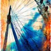 A Big Wheel Roller Coaster Ride Under A Sunset Poster