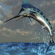 A Blue Marlin Flashes Its Iridescent Poster