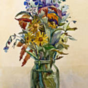 A Bouquet Of Wild Flowers In A Glass Jar. Poster
