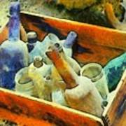 A Box Of Antique Bottles Poster