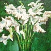 A Bunch Of White Gladioli Poster