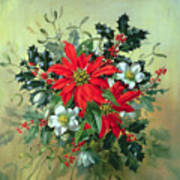 A Christmas Arrangement With Holly Mistletoe And Other Winter Flowers Poster