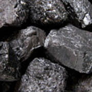 A Close View Of Coal Ready For Burning Poster