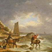 A Coastal Landscape Of The Isle Of Wight With Figures On Horse Back Near A Cottage Poster