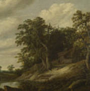 A Cottage Among Trees On The Bank Of A Stream Poster