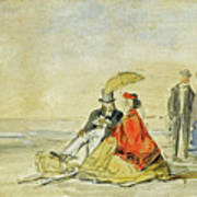 A Couple Seated And A Couple Walking On The Beach Poster