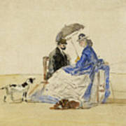 A Couple Seated On The Beach With Two Dogs Poster