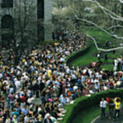 A Crowd Gathers Around Keenelands Poster