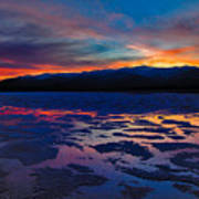 A Death Valley Sunset In The Badwater Basin Poster