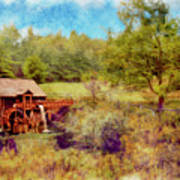 Grist Mill With Flowing Water Poster
