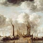 A Dutch Yacht Firing A Salute As A Barge Pulls Away Poster
