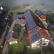 A Farm In Bavaria With Solar Poster by Michael Melford