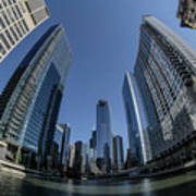 A Fisheye View Of The Chicago Skyline As You Appraoch Wolf Point Poster