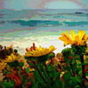 A Flowery View Of The Surf Watercolor Poster