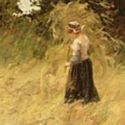 A Girl Harvesting Hay Poster