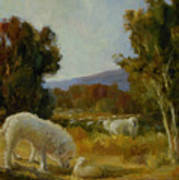 A Great Pyrenees With A Lamb Poster